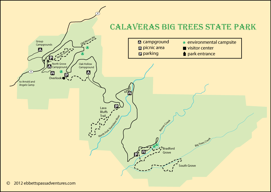 map of Calaveras Big Trees State Park