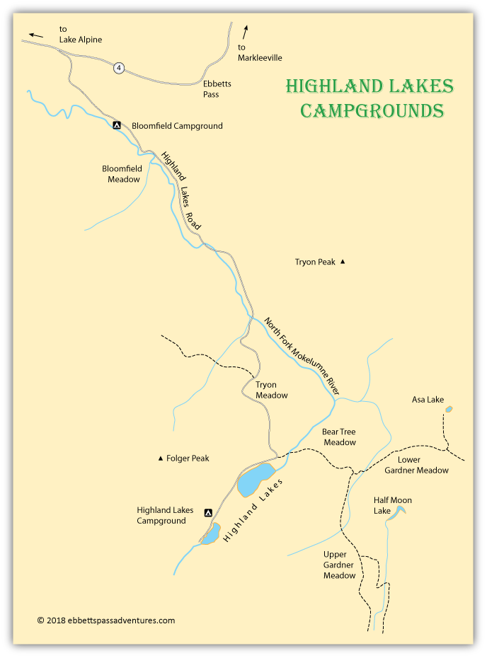 map of campgrounds around Highland Lakes, Alpine county, CA
