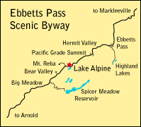 map showing location of Lake Alpine, CA
