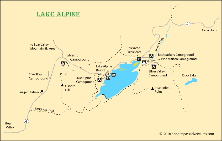 map of Lake Alpine, CA