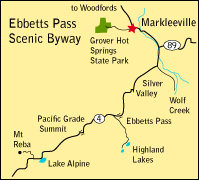 map showing location of Markleeville, CA