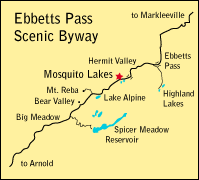map showing location of Mosquito Lakes at Pacific Grade Summit in Alpine County, CA
