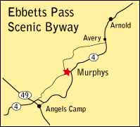 map showing location of Murphys, CA