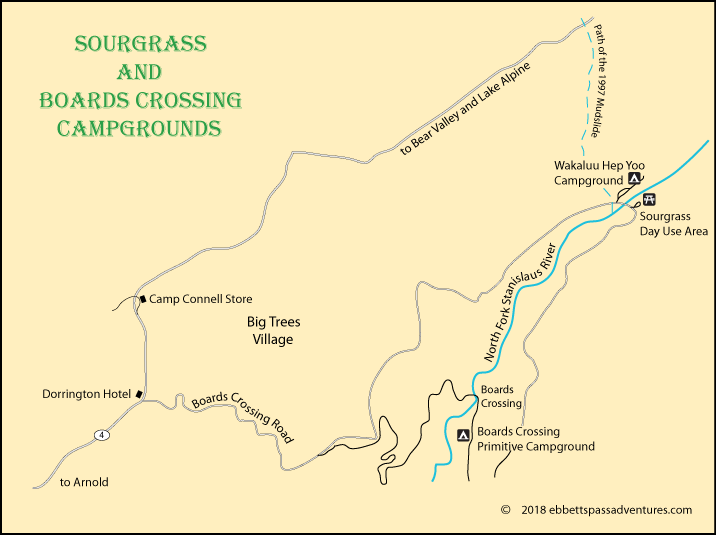map of campgrounds at Sourgrass and Boards Crossing, Calaveras County, CA