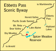 map showing location of Spicer Meadow Reservoir