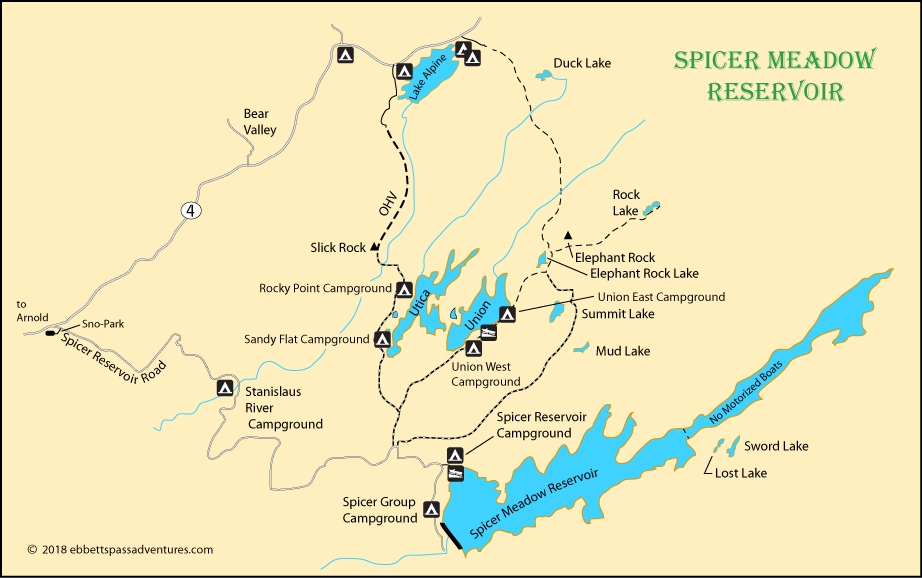 map of Spicer Meadow Reservoir, Stanisalus National Forest, CA