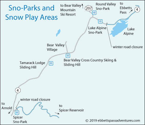 map of Sno-Parks on Highway 4, CA
